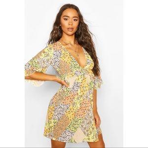 Boohoo Mixed Floral Print Ruffle Smock Dress